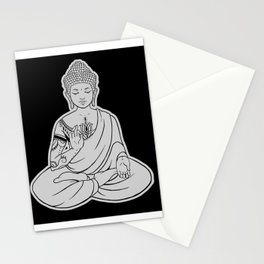 Sitting Buddha is blessing on blissful meditation Stationery Cards
