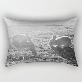 Bunny // Black and White Cute Nursery Photograph Adorable Baby Bunnies in the Field Rectangular Pillow