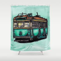 melbourne Shower Curtains featuring Melbourne Tram by thickblackoutline