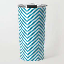 Bondi Blue on White Chevron Wave Pattern Travel Mug