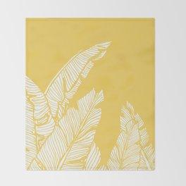 Banana Leaves on Yellow #society6 #decor #buyart Throw Blanket