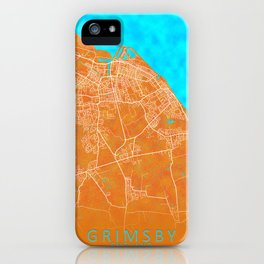 Grimsby, England, Gold, Blue, City, Map iPhone Case