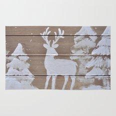 Wood slat deer in the snowy woods Rug