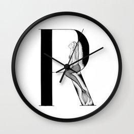 Mermaid Alphabet Series - R Wall Clock