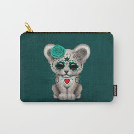 Teal Blue Day of the Dead Sugar Skull White Lion Cub Carry-All Pouch