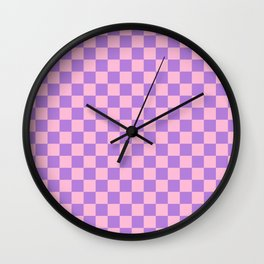Cotton Candy Pink and Lavender Violet Checkerboard Wall Clock