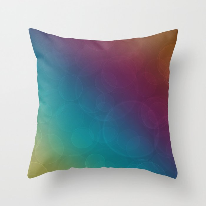 Bohek Bubbles on Rainbow of Color - Ombre multi Colored Spheres Throw Pillow
