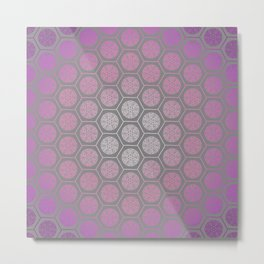 Hexagonal Dreams - Purple Pink Gradient Metal Print