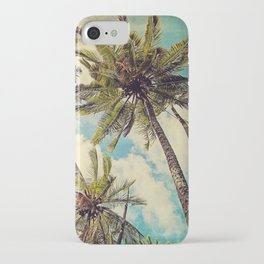 Vintage Blue Hawaii Palm Trees iPhone Case