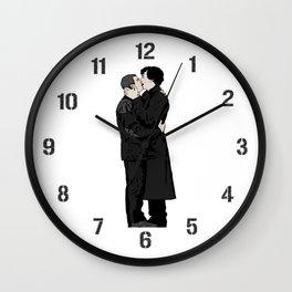 Kissing Sherlock and John Wall Clock