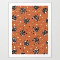 sloths Art Prints featuring Sleepy Sloths by Marzipress