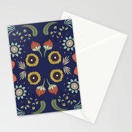 Flora Pattern I Dark Stationery Cards