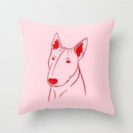 Bull Terrier (Pink and Red) Throw Pillow