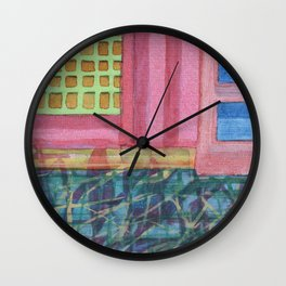 Interieur with pink Wall Wall Clock