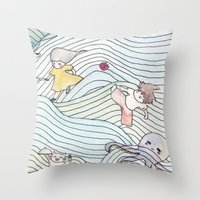 cook Throw Pillows featuring Cook Party by Jane Chu