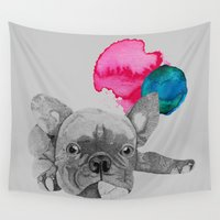french bulldog Wall Tapestries featuring French Bulldog  by Olivia James