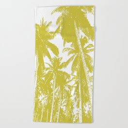Palm Trees Design in Gold and White Beach Towel