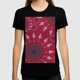 Christmas snowflake on red background T-shirt