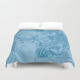 Ghostly alpaca with butterflies in snorkel blue Duvet Cover