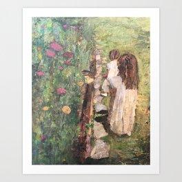 Zoe & Stella at the Garden Art Print