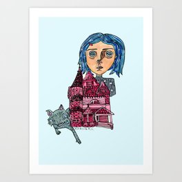 Coraline and Kitty Art Print