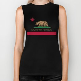 California Republic state flag with red Cannabis leaf Biker Tank