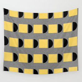 shapes in yellow, grey and black Wall Tapestry