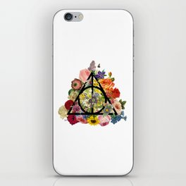 Floral Deathly Hallows - Black iPhone Skin
