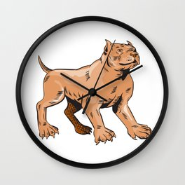 Pitbull Dog Mongrel Standing Etching Wall Clock