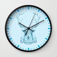 harry potter Wall Clocks featuring Expecto Patronum- Harry Potter by Manfred Maroto