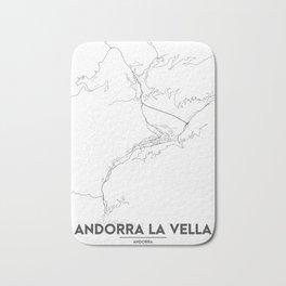 Minimal City Maps - Map Of Andorra La Vella, Andorra. Bath Mat