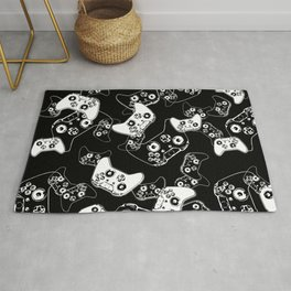 Video Game White on Black Rug