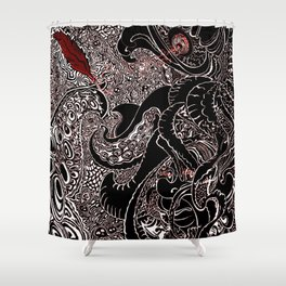 The Squid and the Feather Shower Curtain