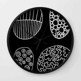 Black and White Patterned Pebbles Wall Clock