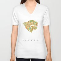 london map V-neck T-shirts featuring London by Nicksman