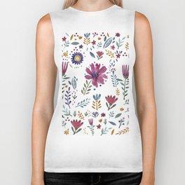 Watercolor Flowers White Biker Tank