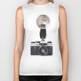 Old film cameras and flash Biker Tank