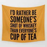 whiskey Wall Tapestries featuring SHOT OF WHISKEY by CreativeAngel