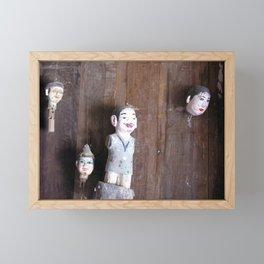 Vietnamese Wooden Puppets Dolls Folk Art Framed Mini Art Print