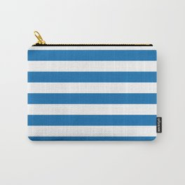 Biscayne Blue Horizontal Tent Stripes Florida Colors of the Sunshine State Carry-All Pouch