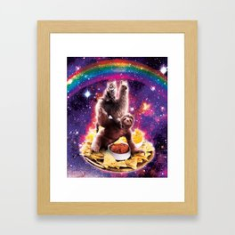 Space Cat Llama Sloth Riding Nachos Framed Art Print