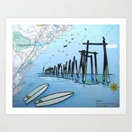 South End Surf - 59th Street Pier Art Print