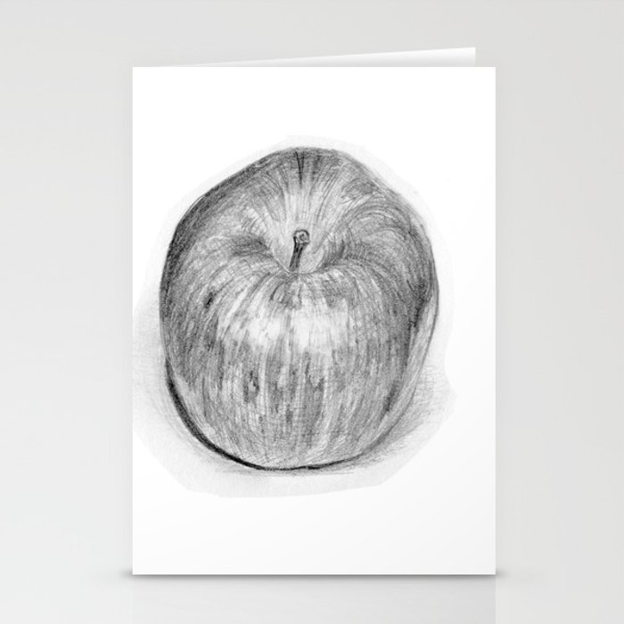 Apple Realistic Pencil Sketch Drawing Stationery Cards By Kyokobartley Society6