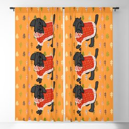 Cute dog in a Christmas tree sweater Blackout Curtain
