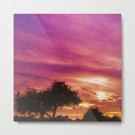 Amazing Sunset over Trees by Jeronimo Rubio Photography 2016 Metal Print