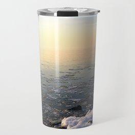Sunset over Frozen Lake Travel Mug