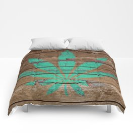 Chipped Paint Cannabis Leaf Comforters