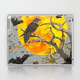 HALLOWEEN NIGHT BATS & RAVEN GOLDEN  MOON Laptop & iPad Skin