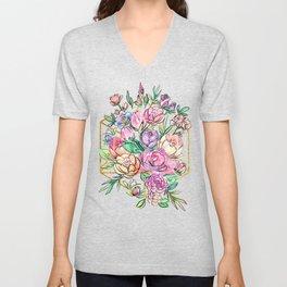 Floral Geometry Unisex V-Neck