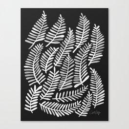 Modern Fronds – White on Black Palette Canvas Print